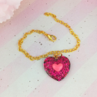 "Chain - Dark pink heart - Online shop ""Villi Tunes Doll"""