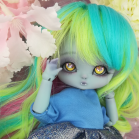 "Wig size 1/4 - Yellow - pink - blue - Online shop ""Villi Tunes Doll"""
