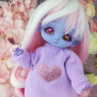 "Hoodies- Purple and heart - For Mouse Mimi /Bunnycorn Lamoon - Online shop ""Villi Tunes Doll"""