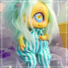 "Jumpsuit - mint blue stripes  - Online shop ""Villi Tunes Doll"""