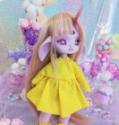 "Dress - yellow polka dot  - Online shop ""Villi Tunes Doll"""