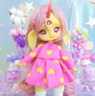 "Dress - Pink & yellow hearts - Online shop ""Villi Tunes Doll"""