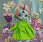"Dress - Green polka dots - Online shop ""Villi Tunes Doll"""