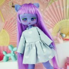 "Simple Dress - Grey hearts - Online shop ""Villi Tunes Doll"""