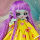 "Dress - YELLOW & pink hearts - Online shop ""Villi Tunes Doll"""