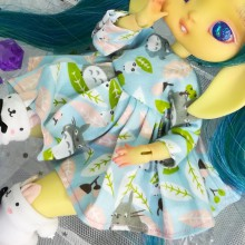 "Dress - light blue totoro - For Mouse Mimi /Bunnycorn Lamoon - Online shop ""Villi Tunes Doll"""