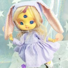 "Dress - purple polka dot - For Mouse Mimi /Bunnycorn Lamoon - Online shop ""Villi Tunes Doll"""