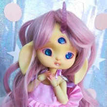 "Wig size 1/4 - Pink - with tails - Online shop ""Villi Tunes Doll"""