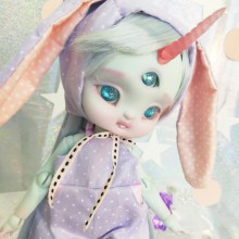 "Bunny hood - purple polka dot - For Bunnycorn Lamoon  - Online shop ""Villi Tunes Doll"""