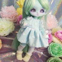 "Dress - Sky blue and heart  - For Mouse Mimi /Bunnycorn Lamoon - Online shop ""Villi Tunes Doll"""