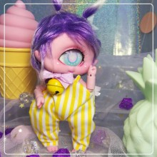 "Jumpsuit - yellow stripes - Online shop ""Villi Tunes Doll"""