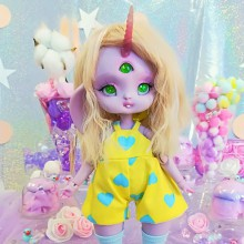 "jumpsuit yellow & blue hearts - Online shop ""Villi Tunes Doll"""