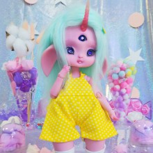 "Jumpsuit - Yellow polka dots  - Online shop ""Villi Tunes Doll"""