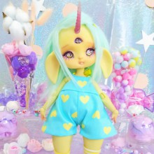 "jumpsuit Blue & yellow hearts - Online shop ""Villi Tunes Doll"""