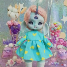 "Dress - Blue & yellow hearts - Online shop ""Villi Tunes Doll"""