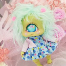 "Dress - Pink and blue hearts - Online shop ""Villi Tunes Doll"""