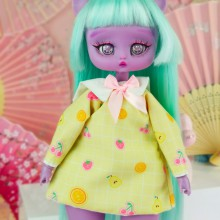 "Dress - yellow pears and ribbon for Minami - Online shop ""Villi Tunes Doll"""