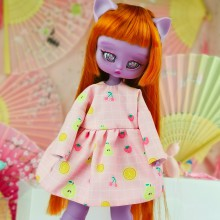 "Simple Dress - pink pears  for Minami - Online shop ""Villi Tunes Doll"""