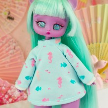 "Hoodie -  Blue and pink fish - Online shop ""Villi Tunes Doll"""