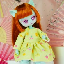 "Simple Dress - Yellow pears  for Minami - Online shop ""Villi Tunes Doll"""