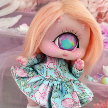 "Dress - Mint and pink flowers - Online shop ""Villi Tunes Doll"""