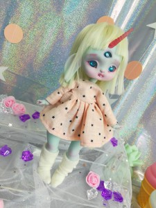"Dress - coral & stars - For Mouse Mimi /Bunnycorn Lamoon - Online shop ""Villi Tunes Doll"""