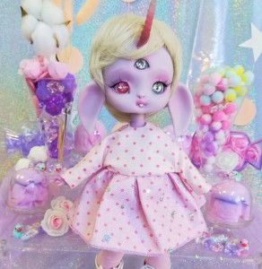 "Dress - light pink polka dot & stars - Online shop ""Villi Tunes Doll"""