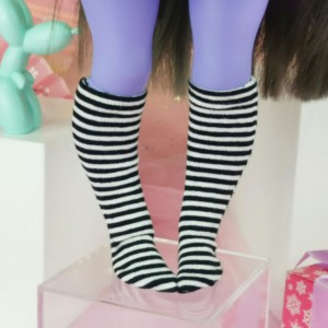 "Socks size Minami - black stripes - Online shop ""Villi Tunes Doll"""