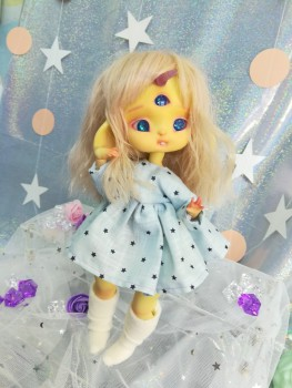 "Dress - light blue & stars - For Mouse Mimi /Bunnycorn Lamoon - Online shop ""Villi Tunes Doll"""